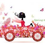 春旅へ出かける女性